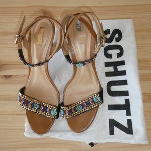 Beige Schutz Beaded Sandals - Size 8